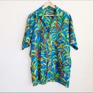 bright tropical print oversized ss buttonup (mens)